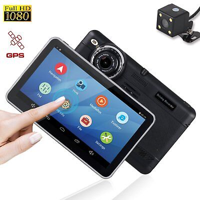 Dual lens Full HD 1080P 7'' Car DVR GPS Navigation Rearview Dash Camera Recorder