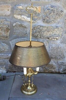 Antique Brass Whale Oil Lamp (Converted to Electric) w/ Tools Scissors, Snuffer