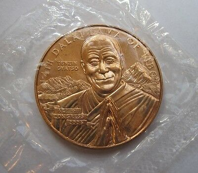 Dalai Lama- World Peace/Lotus - Rare! BU/OMP US Mint - Medal/Coin/Token Bronze