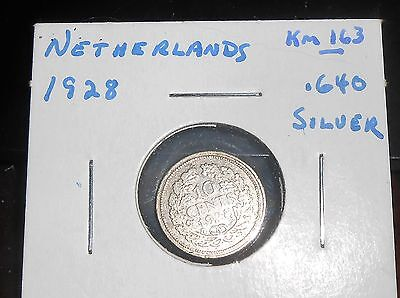 Nice Netherlands 1928 Silver 10 Cents Coin