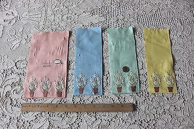 4 Small Original Vintage Samples Of Swiss Cotton Embroidery On Linen~Flowerpots