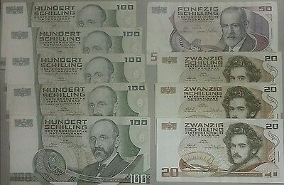 1984-1986 AUSTRIA 100 50 20 Schilling (9 Pieces) Banknote Lot 610 Austrian Money