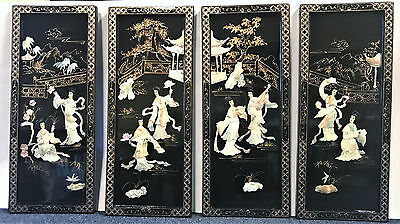 Set Of 4 Vintage Mother Of Pearl And Black Laquer Plaques, Dancing Ladies