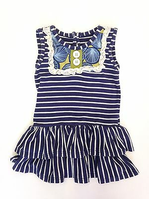 Persnickety Girls Dress Navy Blue White Striped Size 6 12 Months Ruffle