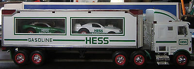 Hess 1997  Toy Truck & Racers--White/green Color--In Original Box
