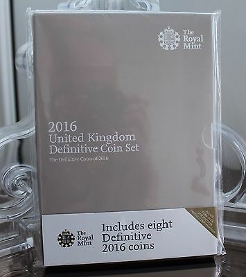 2016 UK DEFINITIVE ANNUAL EIGHT (8) COIN SET.  * Unreleased £1 and Shield 50p *