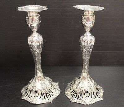 """Stunning Vintage Pair of Sterling Silver Bailey Banks & Biddle 11"""" Candlesticks"""