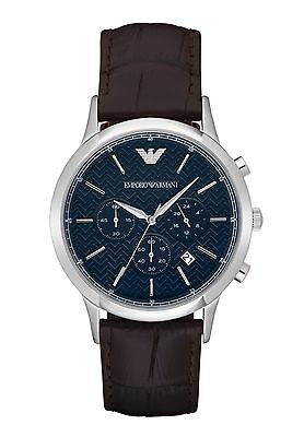 New Emporio Armani Ar2494 Mens Brown Blue Watch - 2 Year Warranty - Certificate