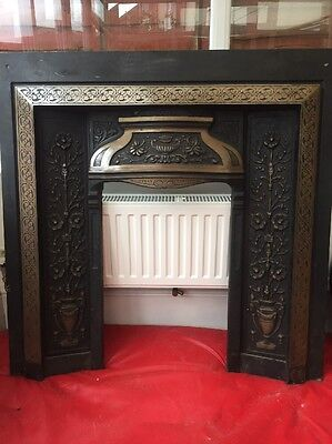 Original  Antique Victorian Edwardian Cast Iron Fireplace