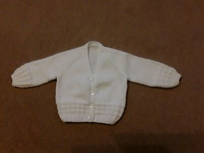 Girl hand made knitted cardigan, white age 2 summer, present,wedding christening