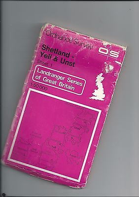 """OS 1"""" Lanranger Series of GB SHETLAND (Yell and Unst) 1 1976"""