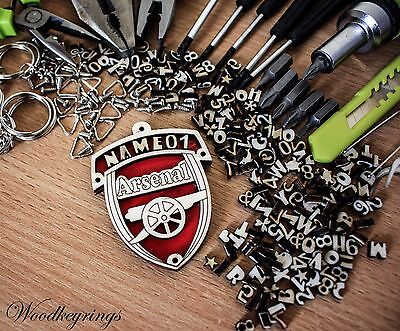 Arsenal Keyring Personalised Handmade Wood Keyrings