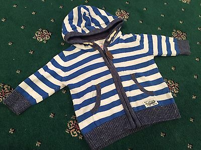 Next Blue And White Stripped Cardigan Age 3-6 Months