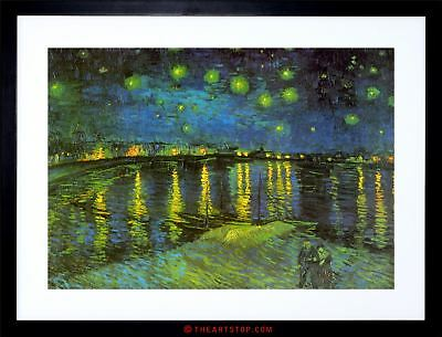 Painting Van Gogh Starry Night Over Rhone Framed Picture Art Print F97X9258