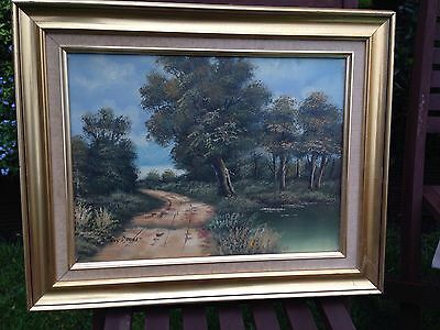 Old Oil Painting Landscape In Antique Style Gilt Frame Signed Tony Drew