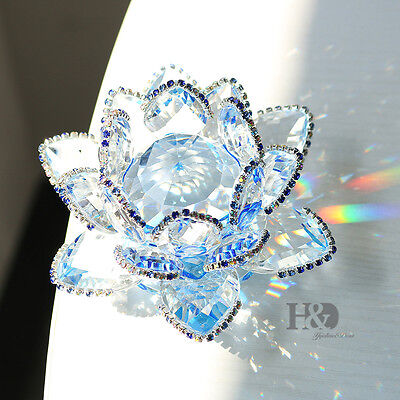 rystal Glass Flower Figure Paperweight Ornament Feng Shui Gift  Blue Lotus100mm