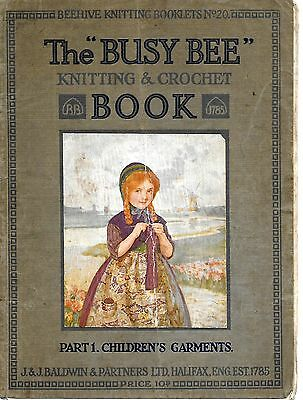 Busy Bee Knitting Crochet Book Part 1 Childrens Garments Clothes Craft 1930s