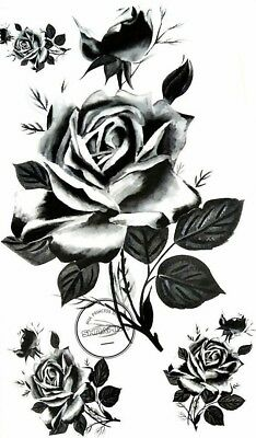 17x10cm-Sheet-High-Quality-Fake-Tattoo-Rose-Flower-Waterproof-Party-Temporary