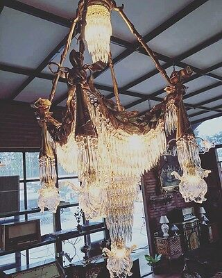 Stunning, French, Crystal, Bronze, Waterfall Antique Style, Vintage Chandelier