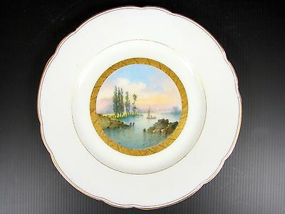 Antique Paris Porcelain Hand Painted Plate w/ Scene of fishing Stunning 19th C a