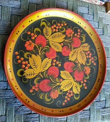 Dramatic Vintage Russian hand painted fully marked wooden/papier mache plate