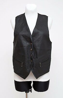 Womens Company Vest Waistcoat 100 % Genuine Leather Black Size Uk 16 Excellent