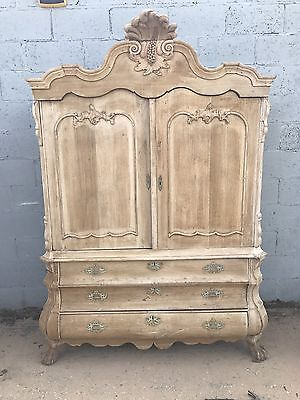 Stunning, French Antique, Armoire/linen Press, Solid Oak, Rustic, Country