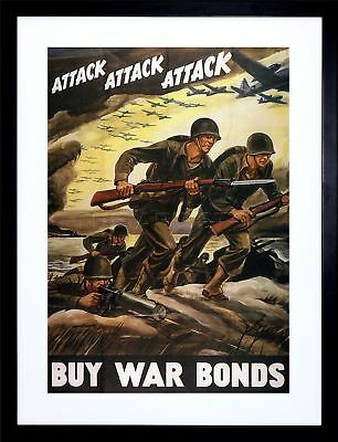 War Ww2 Attack Bond Soldier Gun Vintage Ad Art Print Wood Frame Picture F12X1889