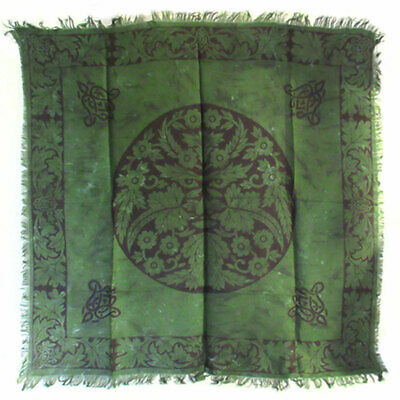 """Green Man Altar Cloth 36"""" NEW Celtic Wicca Pagan Square Rayon Fringed"""