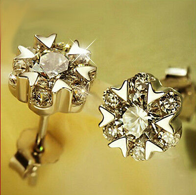 FASHIONS FOREVER® 925SterlingSilver Love-Heart Flower Cubic Zircon Stud Earrings