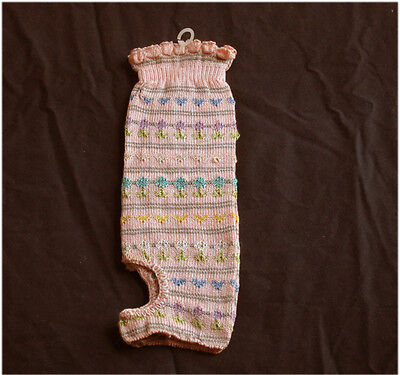 new Dance Socks 1size Pink w/multi colored Embroidery summer leg warmers NWOT