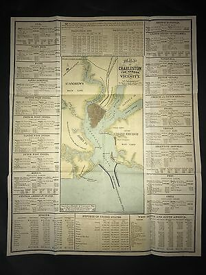 Charleston South Carolina Harbor 1880 Map Hand Color Mount Pleasant Sullivan Is.