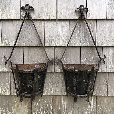 Vintage Pair Painted Wrought Iron Home Garden Hanging Planters Rustic Sconces
