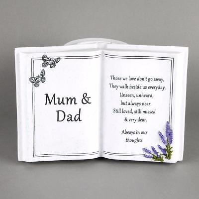 Mum and Dad Memorial Remembrance Book Ornament With Vase 61983