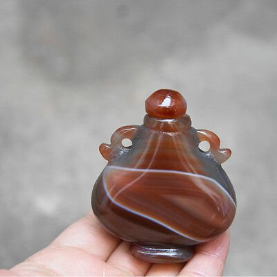 New delicate  Bottles of decorations Brazil agate hand-carved snuff bottle