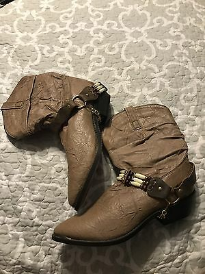 Ladies Leather Western Cowboy Girl Tan Boot Size 10M