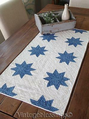 Beautiful! 1880s Indigo Blue & White STARS Antique Table QUILT RUNNER 33""
