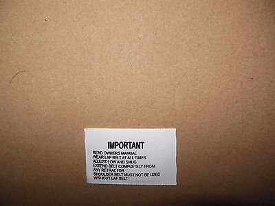 1967-68 Chevy Corvette Seat Belt label Hamill Important Label NCRS Correct