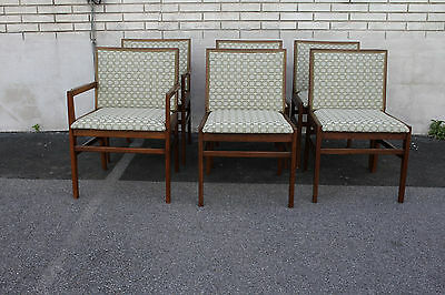 Modern Set of 6 Danish Teek Wood Dining Chairs, 2 Armchairs & 4 Side Chairs