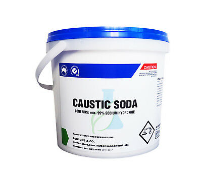 Caustic Soda Pearl - 5 kg - SODIUM HYDROXIDE LYE Soap Making Drain Pipe Cleaner