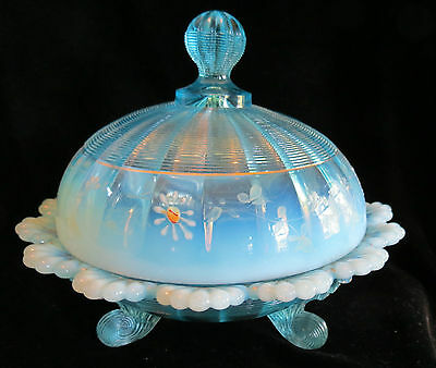 Northwood Klondyke Fluted Scroll Jackson Blue Opalescent Round Covered Butter Di