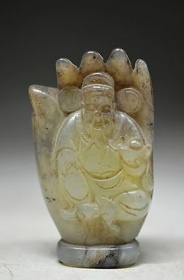Good Chinese old jade hand carved The God of wealth & hand statue cd15