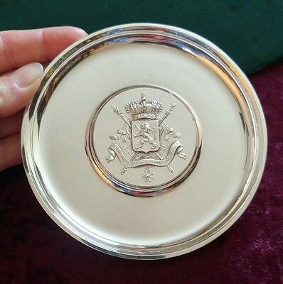 Christofle France Silverplate Dish Tray Trinket Ring Round Lion Shield Swords