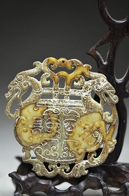 Chinese old jade hand carved hollow out dragon pendant cd15