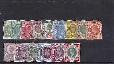 GB69) GB 1902 – 11 KEVII set of 15, fresh mint. SG between 215 – 314