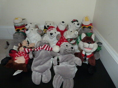 Lot Of 15 Coca Cola Coke Collectible Bean Bag Plush Stuffed Animals Polar Bear