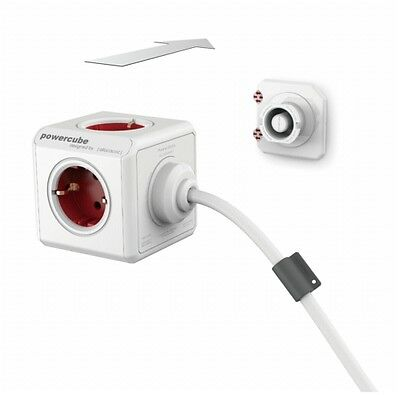 allocacoc PowerCube Extended inkl. 1,5 m Kabel rot Type F