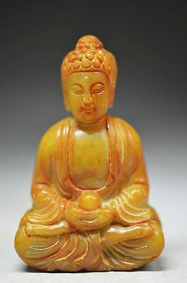 Perfect Chinese old jade hand carved lifelike buddha statue cd15