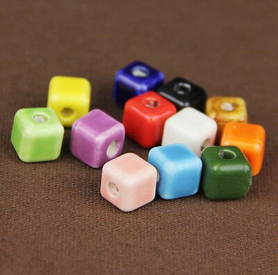 5Pc Cube Ceramic Porcelain Loose Spacer Beads Charm Multi-color 8mm DIY Findings