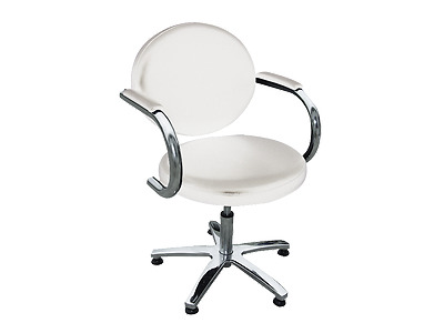 Client Chair With Arm Rest Gas Lift System - White
